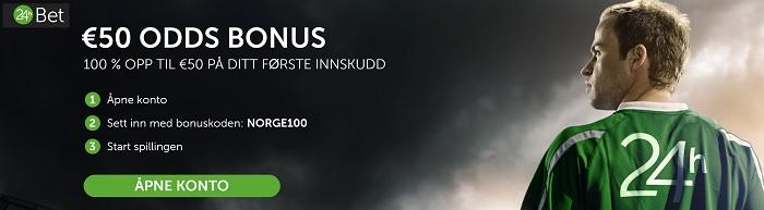 24hbet oddsbonus og bonuskode 2017