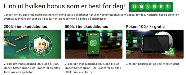 Unibet bettingside med oddsbonus